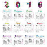 Calendar 2016. Graphic illustration of a full calendar of the year 2016 with original hand drawn text and decorated capital letters for kids vector illustration