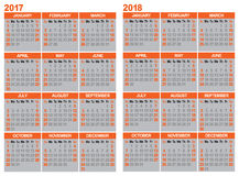 Calendar 2017 and 2018. Calendar for 2017 and 2018 with gray background Royalty Free Stock Photos