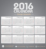 Calendar 2016 gray color tone background design template  Royalty Free Stock Photos