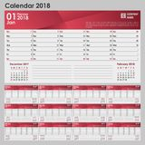 Calendar for 2018 in gray-red color with a place for the logo. Vector illustration Royalty Free Stock Photo