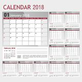 Calendar for 2018 in gray-red color with a place for the logo. Vector illustration Stock Photography