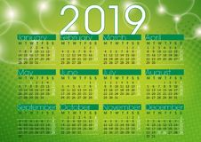 Calendar 2019 green abstract background. English language vector illustration