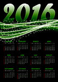 Calendar for 2016 on green background. With abstract glittering sparkling waves.Vector illustration stock illustration