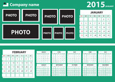 2015 Calendar. With green background. It is better for web page. just replace the Image gallery and month chart. Windows 8 looking  calender. Vector fully Stock Image