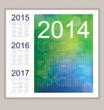 Calendar 2014. Calendar for 2014 on the green and blue background Royalty Free Stock Image