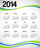 Calendar 2014. 2014 calendar with green and blue decorations Royalty Free Stock Photo