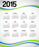 Calendar 2015. With green and blue decorations Royalty Free Stock Photo