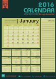 Calendar 2016 green color tone background design template with Set of 12 Months. Can be used for office object, new year,company,business,holiday or plan vector Stock Photo