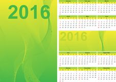 Calendar green 2016. The calendar the green, dated chislenik, smooth lines, yellow color, a calendar illustration, vertical strips, lines of a bend, days of the Royalty Free Stock Photos