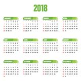 Calendar green design for 2018 illustration. Calendar green design for 2018 art illustration Royalty Free Stock Photos
