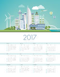 Calendar 2017. Green futuristic city skyline with wind turbines and solar panels, ecology and sustainability calendar 2017 Royalty Free Stock Image