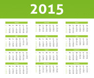 2015 calendar with green halftone effect. 2015 calendar in light style with green halftone effect Stock Photography