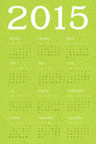 Calendar 2015 on green leaf texture. Vector Royalty Free Stock Photos
