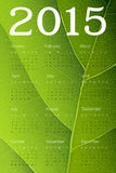 Calendar 2015 on green leaf texture. Vector Stock Photo