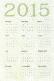 Calendar 2015 on green leaf texture. Vector. Illustration royalty free illustration