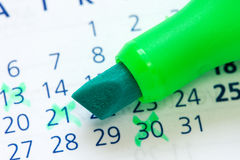 Calendar and green marker Royalty Free Stock Photo