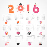 Calendar for 2016 on grey background.Business,education,science, Royalty Free Stock Photo