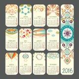 Calendar 2016. Calendar for 2016 on Grey Background. Week Starts Sunday Stock Image