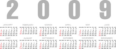 Calendar grid  2009. Vector Illustration of calendar 2009 Royalty Free Stock Image