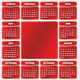 Calendar grid of 2010 year. Monday is first day of week Royalty Free Stock Photos
