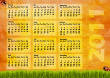 Calendar grid 2011. Year english vector illustration