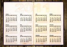 Calendar grid 2011. Year english, grunge book design Stock Illustration
