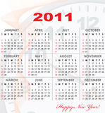 Calendar grid of 2011 year. With light abstract graphics on background for your design. English variant. Vector illustration Royalty Free Stock Photos
