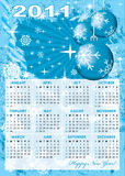 Calendar grid of 2011 year. On frost abstract background. English variant. Vector illustration - eps10. Gradient mesh and transparency include Royalty Free Stock Photos