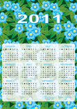 Calendar grid of 2011 year. On spring-flowers abstract background. English variant. Vector illustration - eps10. Transparency include Stock Photo