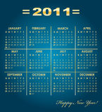 Calendar grid of 2011 year. On blue background with golden font. English variant. Vector illustration Royalty Free Stock Images