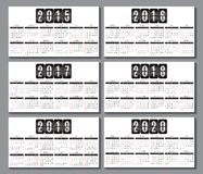 Calendar grid 2015, 2016... 2020 for business card. Calendar grid for for business card Royalty Free Illustration