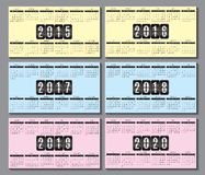 Calendar grid 2015, 2016... 2020  for business card. Calendar grid for 2015  for business card Royalty Free Stock Photography