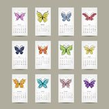 Calendar grid 2015, buttyrfly design. Vector illustration royalty free illustration