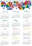 Calendar grid for 2017 with colorful umbrellas Stock Image