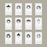 Calendar grid 2015, cute girls design. Vector illustration Royalty Free Stock Photos