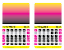 Calendar grid.December. November. Calendar grid. December. November. This page wall calendar. In place of the gradient field can be foredeck your image. Eps 10 Royalty Free Stock Photography