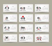 Calendar grid 2015 design. Couple in love together. Vector illustration Royalty Free Stock Image