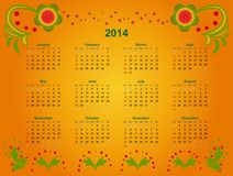 Calendar grid 2014. The calendar grid in 2014 with elements of Art khokhloma. Vector illustration Vector Illustration