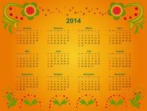 Calendar grid 2014 Stock Photography