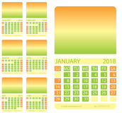 Calendar grid. First six months. This page wall calendar. In place of the gradient field can be foredeck your image. Eps 10 Stock Photography