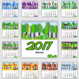Calendar grid for 2017. Forest in flat style Royalty Free Stock Images