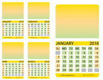 Calendar grid. January. February. March. April Royalty Free Stock Image