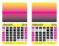 Calendar grid. January. February Royalty Free Stock Photo