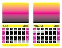 Calendar grid. July. August Stock Photo