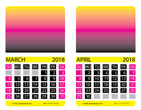 Calendar grid. March, April Royalty Free Stock Images