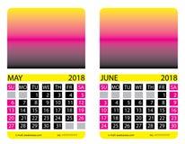 Calendar grid. May. June Stock Image