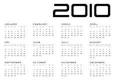 Calendar grid Monday-Sunday. Calendar grid Monday - Sunday modern design calendar for 2010 horizontal format days of the month royalty free illustration