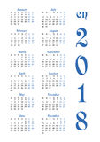 Calendar grid for 2018 with noted weekend days Royalty Free Stock Image