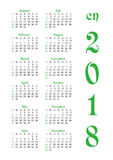 Calendar grid for 2018 with noted weekend days Royalty Free Stock Images