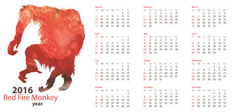 Calendar grid 2016 with Red Fire Monkey Watercolor Shape. Calendar grid 2016 with Red Fire Monkey Watercolor silhouette Royalty Free Stock Photography